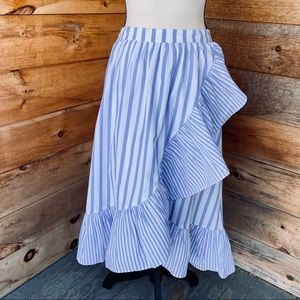 Who What Wear Blue Striped Ruffle Wrap Skirt Small